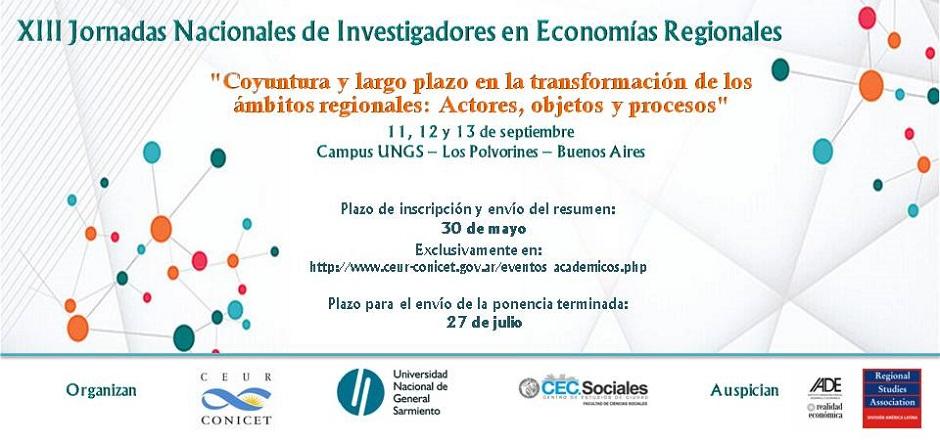 Se vienen las XIII Jornadas nacionales de Investigadores de las Economías regionales