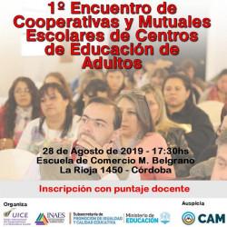 Córdoba: Primer encuentro de cooperativas y mutuales escolares para adultos
